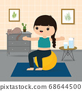 Ball Workout. Woman doing Stability ball exercise and yoga training at gym home, stay at home concept. Character Cartoon Vector illustration 68644500