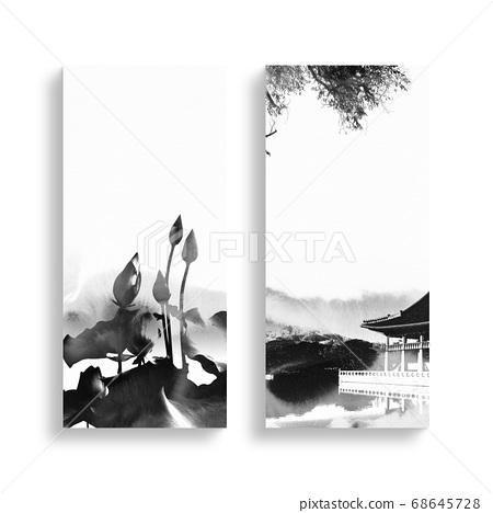 한국의 전통 캘리그라피 배경, 추석, 수채화배경 68645728