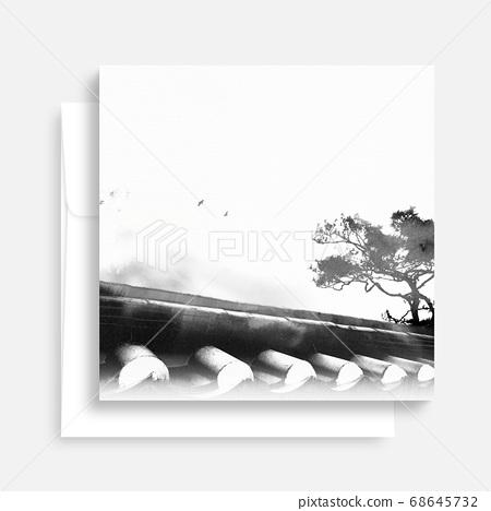 한국의 전통 캘리그라피 배경, 추석, 수채화배경 68645732