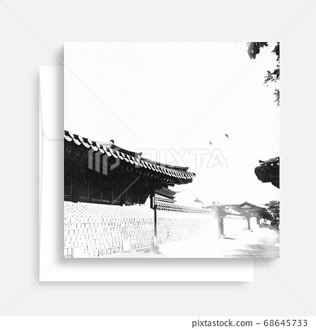 한국의 전통 캘리그라피 배경, 추석, 수채화배경 68645733