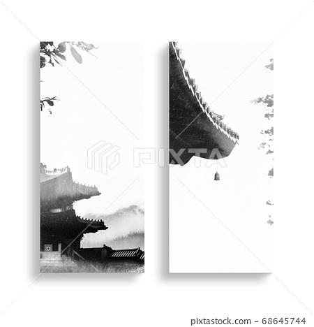 한국의 전통 캘리그라피 배경, 추석, 수채화배경 68645744