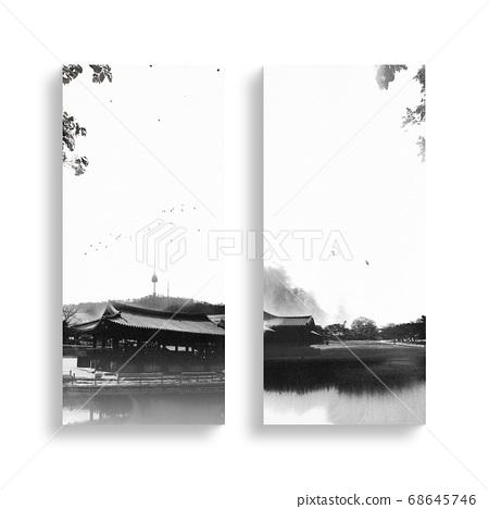 한국의 전통 캘리그라피 배경, 추석, 수채화배경 68645746