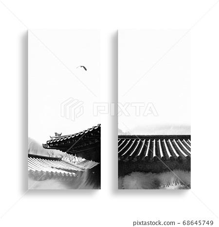 한국의 전통 캘리그라피 배경, 추석, 수채화배경 68645749