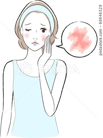 患有皮膚乾燥的女人 68646329