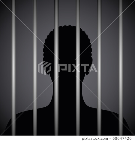 man in a prison behind jail bars silhouette 68647426