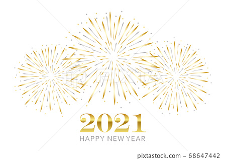 happy new year greeting card 2021 with gold and silver firework 68647442