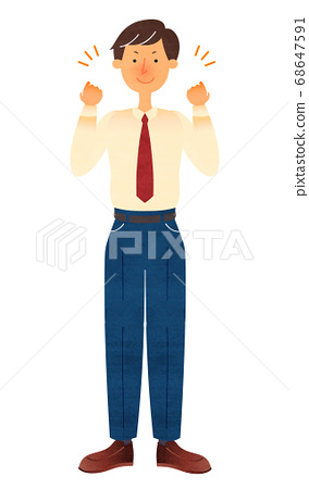 一個穿西裝的年輕人,使雙手冒充的姿勢 68647591