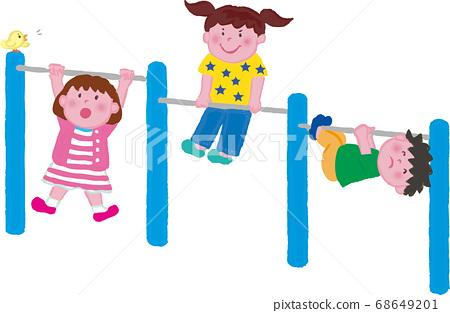아크릴 화풍의 철봉하는 어린이들 68649201