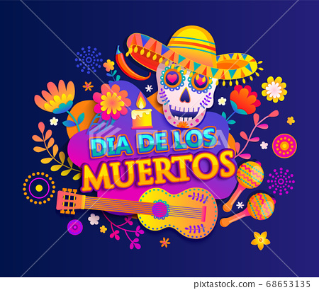Bright banner for Day of the dead. 68653135