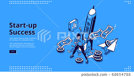 Vector landing page of startup success 68654788