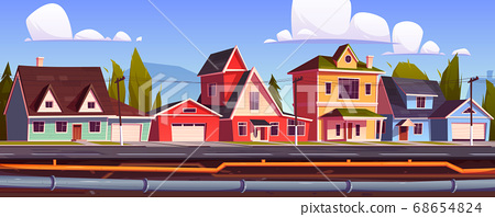 Suburb houses and underground pipeline 68654824