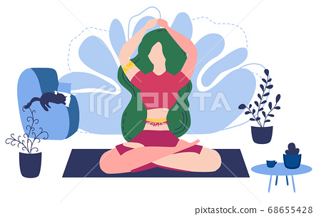 Relaxed young woman enjoying rest. Girl meditates. 68655428