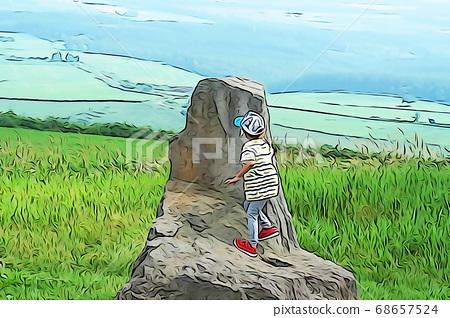 바위에 올라 놀이 1 명의 소년 68657524