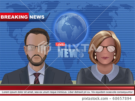 Man and woman leading news in the TV studio 68657894