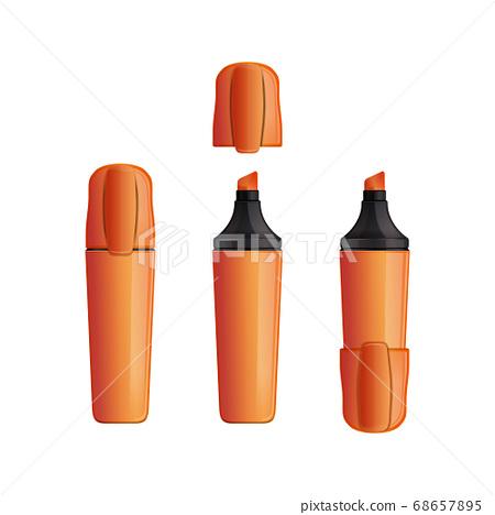 Set orange indoor and outdoor marker with cap 68657895
