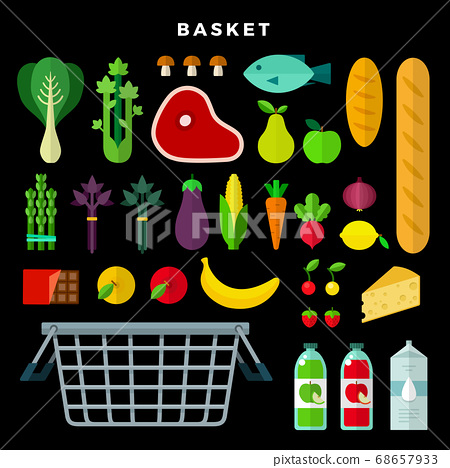 Grocery selection set with vegetables, fruits, meat, bread, cheese, juice, milk, fish, mushrooms, chocolate, berries, cabbage and food basket on dark background 68657933