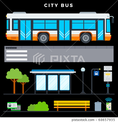 City bus transport vector flat icons set with public transport stop, bench, lamp post, urn, tickets, phone navigation, bus stop sign, crosswalk and bus schedule on dark background 68657935