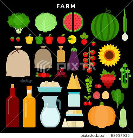Farm products vector flat set with watermelon, tomato, cabbage, pepper, berries, cheese, eggs, kidney beans, oil, milk, spinach, zucchini, potatoes on dark background 68657936