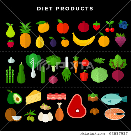 Set of various dietary food, isolated on white background. Vector illustration in flat style on dark background 68657937
