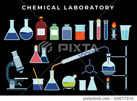Chemical, biological pharmaceutical science lab research, analysis, experiment tools. Isolated illustration with flasks, test tube, beaker, burner on dark background 68657938