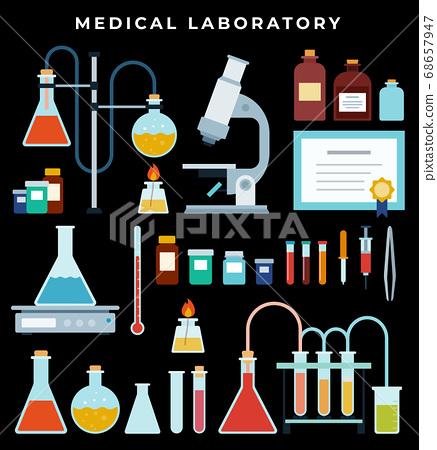 Lab Equipment. Laboratory microscope, flasks heating system, molecule structure. Vial, jar, microscope, tweezers, reagents, beaker on dark background 68657947