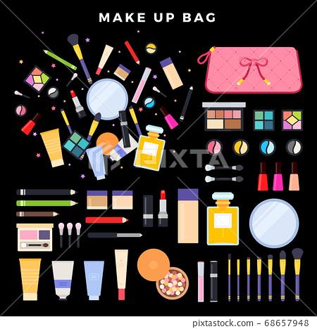 Eye shadow, lipstick, powder, nail polish, mascara, foundation, mirror, brushes, eyeliner on dark background 68657948