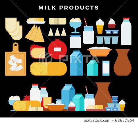 Milk products icon set. Milk and cheese showcase, store shelf. Farm foods on dark background 68657954