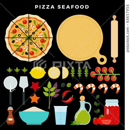Pizza with seafood and all ingredients for cooking it. Make your pizza. Set of products and tools for pizza making. Vector illustration on dark background 68657958