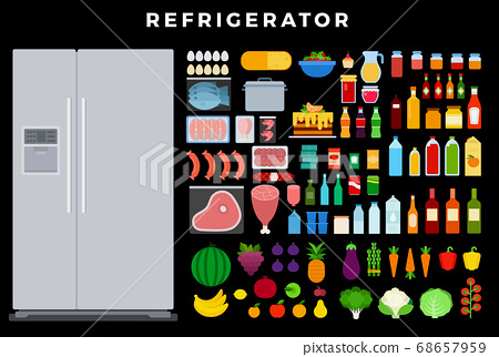 Refrigerator vector flat set with eggs, fish, meat, sausages, berries, cake, fruit, vegetables, milk, wine, juice, yogurt, honey, canned goods, cheese, shrimp, sauces on dark background 68657959
