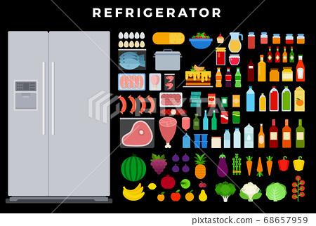 Refrigerator vector flat set with eggs, fish, meat, sausages, berries, cake, fruit, vegetables, milk, wine, juice, yogurt, honey, canned goods, cheese, shrimp, sauces on dark background 68657959