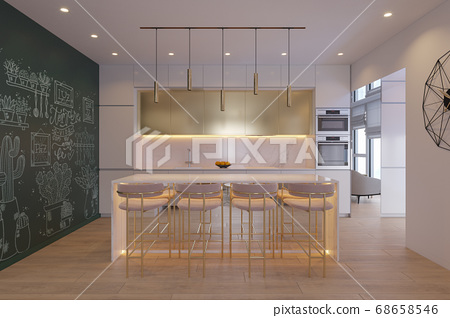 3D illustration of a kitchen with day lighting 68658546