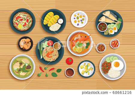 Thai food and ingredient on a wooden background. 68661216