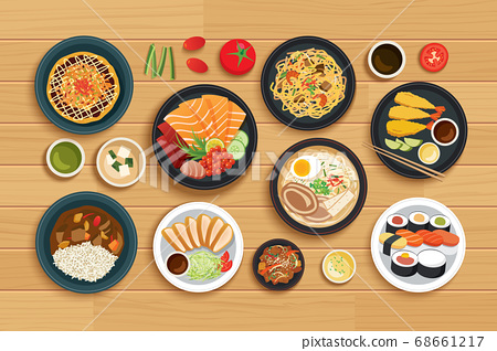 japanese food on top view wooden background. 68661217