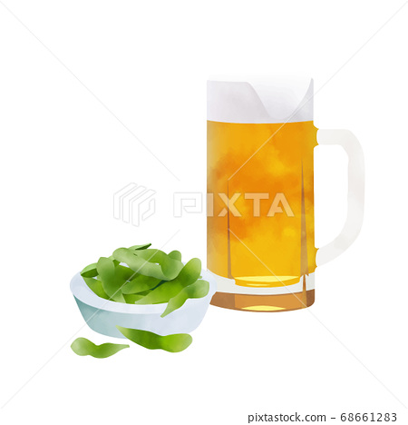 Edamame beans and beer 68661283