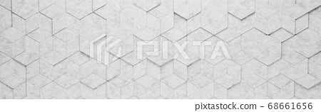 Light Gray Rhombus and Hexagons 3D Pattern Background 68661656