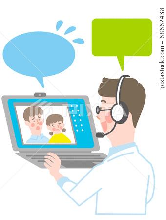 筆記本電腦和男醫生以及父母和孩子 68662438