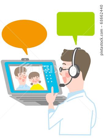筆記本電腦和男醫生以及父母和孩子 68662440