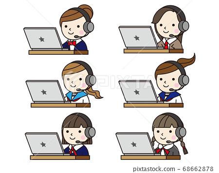 Icon (Student Telework) Female Student Online Class 68662878