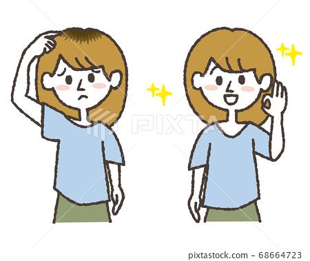 困擾著髮際線地面頭髮顏色的年輕女子和染成美麗的女人的插圖集 68664723
