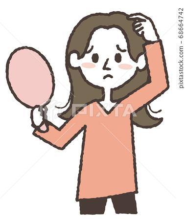 머리가 정리되지 않고 곤란 해하고있는 젊은 여성의 일러스트 68664742