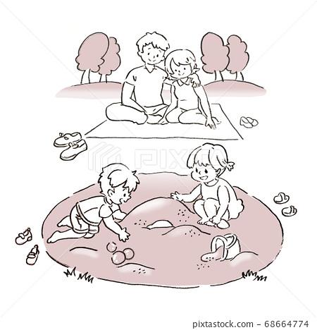 가족과 함께 공원에서 노는 일러스트 68664774