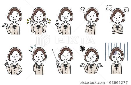 矢量材料:年輕女子,女商人,集,集合 68665277