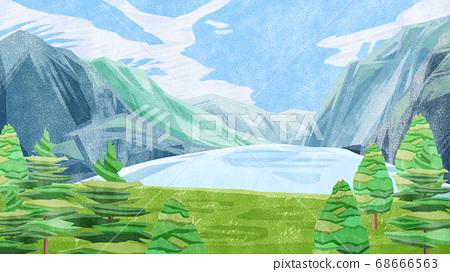 호수를 내려다 산악 풍경 68666563