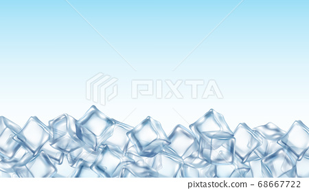Layout with ice crystal cubes realistic vector illustration on sky background. 68667722