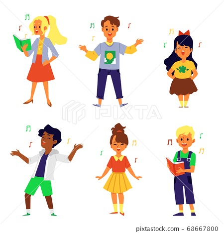 Set of singing children cartoon characters flat vector illustration isolated. 68667800