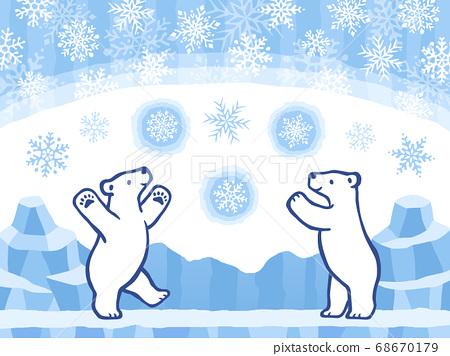 手繪風格插圖集的北極熊和雪冰背景 68670179