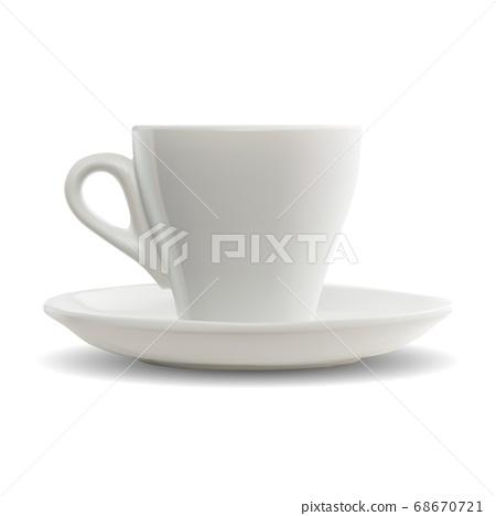 Espresso coffee cup with handle. Realistic vector 68670721