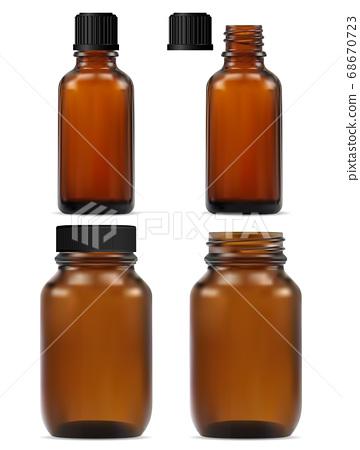 Brown glass apothecary bottle. Medicine jar design 68670723
