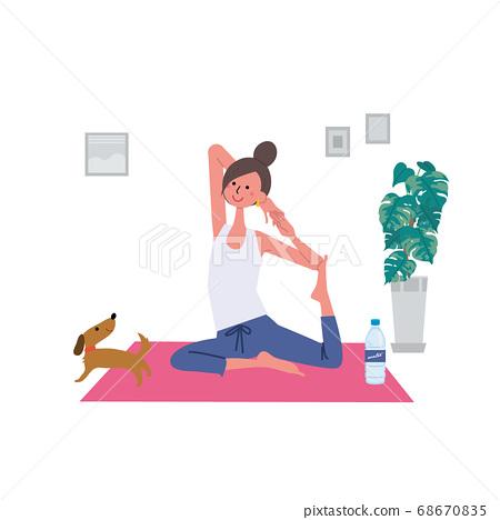 一個女人在做瑜伽的插圖 68670835