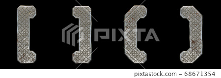Set of symbols left and right square bracket, left and right parentheses made of industrial metal on black background 3d 68671354